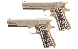 Pair of WWII Contract Model 1911A1 Semi-Automatic Pistols