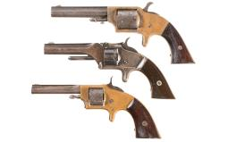 Three Antique American Revolvers