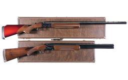 Two Engraved Browning Shotguns with Cases