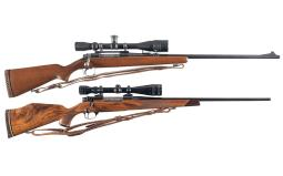 Two Bolt Action Rifles with Scopes