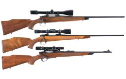 Three Bolt Action Rifles with Scopes