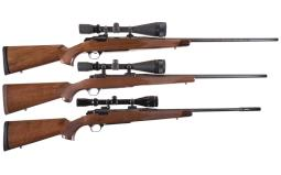 Three Left Hand Bolt Action Rifles with Scopes
