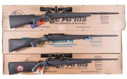 Three Bolt Action Rifles with Boxes