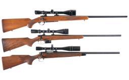 Three Scoped Bolt Action Rifles