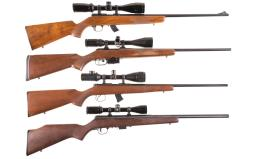 Four Left Hand Bolt Action Rifles with Scopes