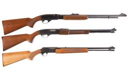 Three Sporting Slide Action Rifles