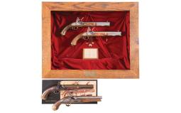 Four Reproduction Flintlock Pistols