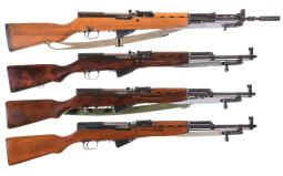 Four SKS Semi-Automatic Carbines with Bayonets