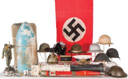 Grouping of Assorted Head Covers and Military Related Items