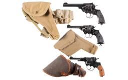 Three Double Action Military Revolvers with Holsters