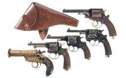 Four European Military Revolvers and a Flare Pistol