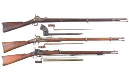 Three Antique Military Rifles with Bayonets