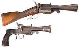 Two Engraved Pinfire Pistols with Blunderbuss Style Barrels