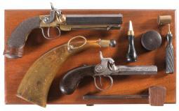 Two British Side Hammer Box Lock Percussion Pistols