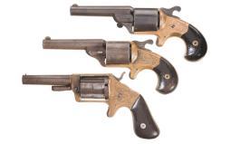 Three Engraved Antique American Cartridge Pocket Revolvers