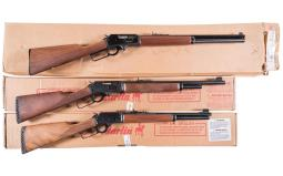 Three Marlin Lever Action Rifles with Boxes