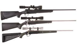 Three Scoped Sporting Bolt Action Rifles