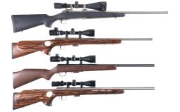 Four Scoped Left Handed Savage Bolt Action Sporting Rifles