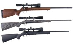 Three Bolt Action Sporting Rifles with Scopes