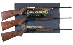 Three Browning .22 Semi-Automatic Rifles