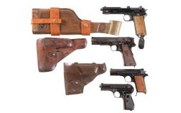 Four European Semi-Auto Pistols, Including a Stocked Steyr 1912