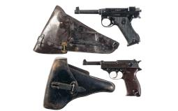 Two European Semi-Automatic Pistols with Holsters