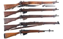Five Enfield Bolt Action Long Guns