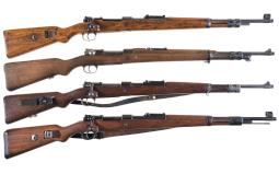 Four Mauser Model 98 Style Bolt Action Rifles