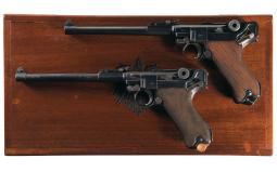 Two Artillery Luger Pistols with Case