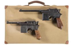 Two Mauser Broomhandle Semi-Automatic Pistols
