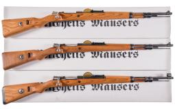 Three German Military Bolt Action Rifles with Boxes