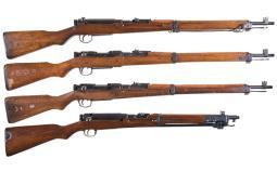 Four Japanese Military Bolt Action Longarms