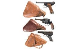 Three Japanese Military Handguns with Holsters
