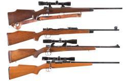 Four European Sporting Bolt Action Rifles