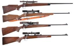 Four Scoped European Bolt Action Sporting Rifles