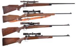 Four Scoped European Bolt Action Sporting Rifles