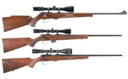 Three Scoped Rimfire Bolt Action Rifles