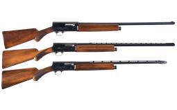 Three Factory Engraved Belgian Browning Semi-Automatic Shotguns