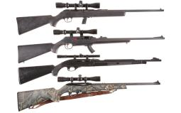 Four Semi-Automatic Rifles with Scopes