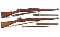 Two U.S. Military Bolt Action Rifles with Bayonets