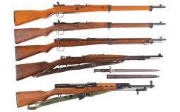 Four Bolt Action Military Rifles and One Semi-Automatic Carbine