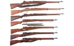 Seven Japanese Military Bolt Action Long Guns