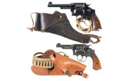Two Smith & Wesson Double Action Revolvers with Holsters