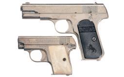 Two Nickel Colt Pocket Hammerless Pistol