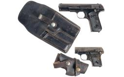 Two Colt Pocket Hammerless Pistols with Holsters