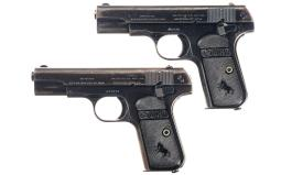 Two Colt Pocket Hammerless Semi-Automatic Pistols