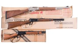 Two Lever Action Carbines and One Lever Action Pistol with Boxes
