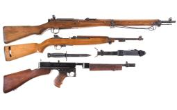 Two Military Long Guns and an Inert SMG