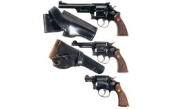 Three Smith & Wesson Double Action Revolvers