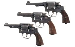 Three World War II Smith & Wesson Double Action Revolvers